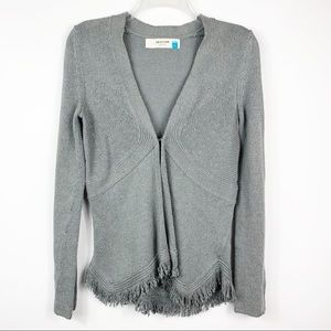 Sparrow Grey Fringe Short Knit Cardigan